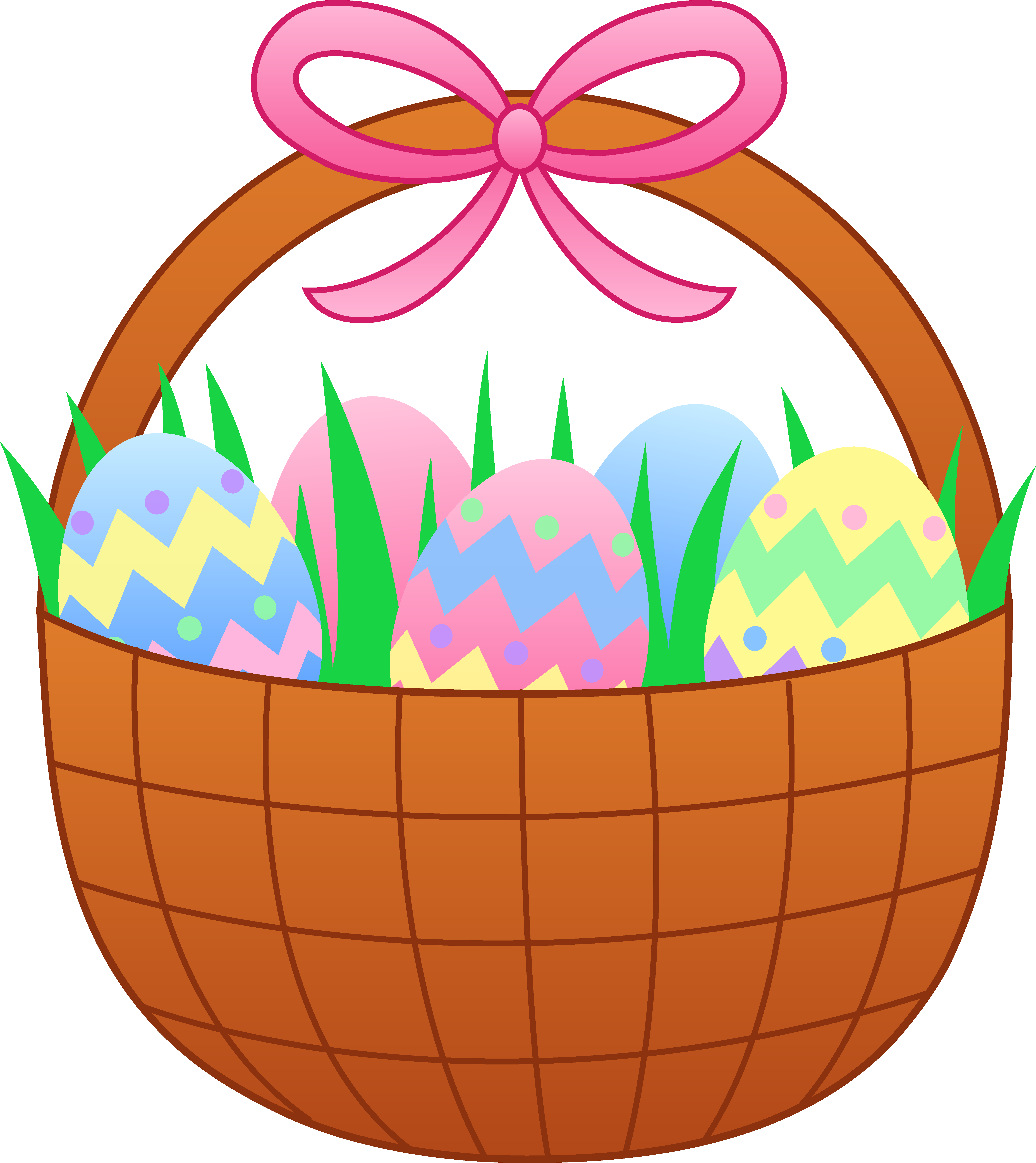 Easter with colorful eggs. Raffle clipart breakfast basket
