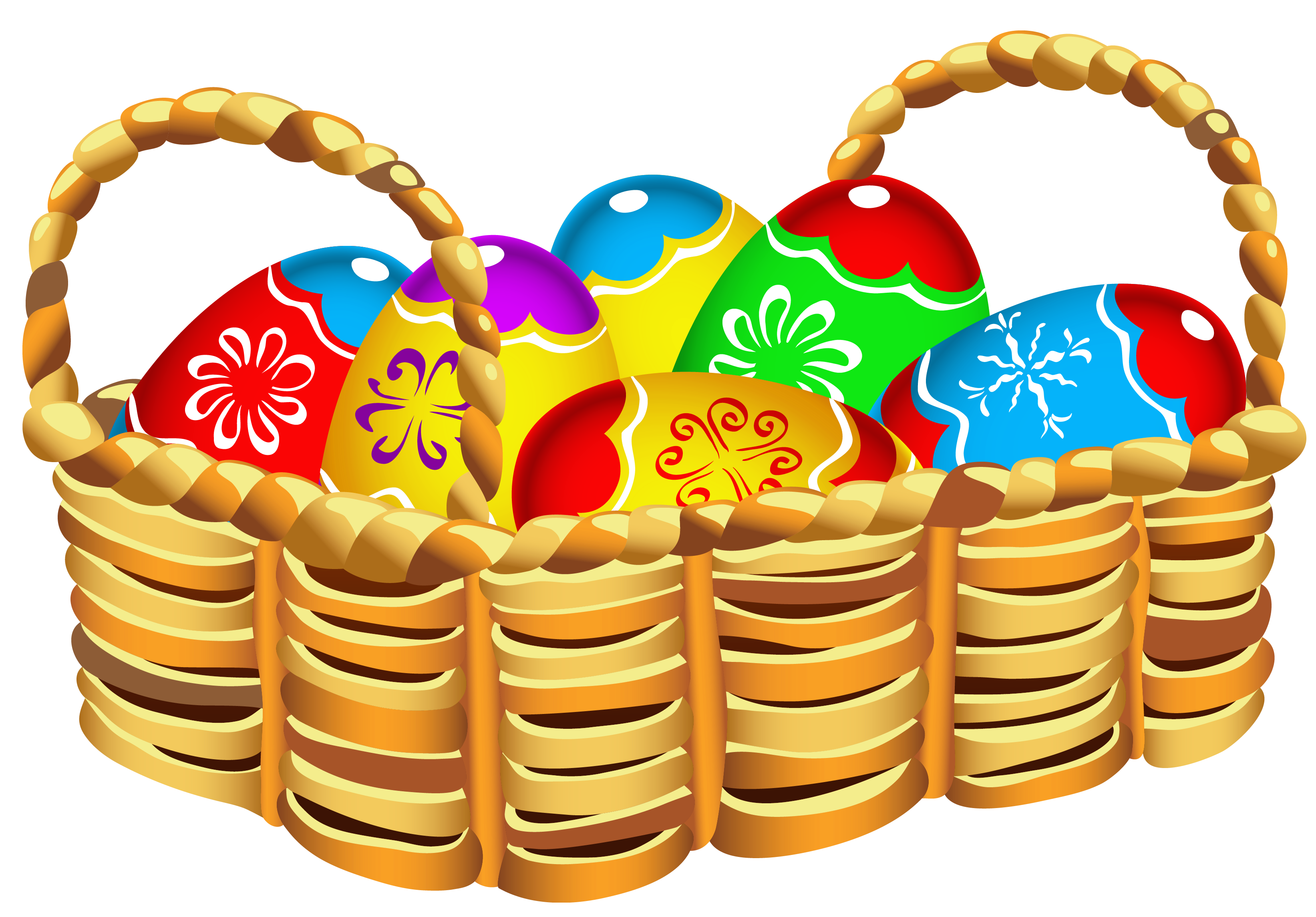 Square with easter eggs. Gift clipart full basket
