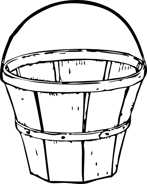 Empty apple basket panda. Bucket clipart draw