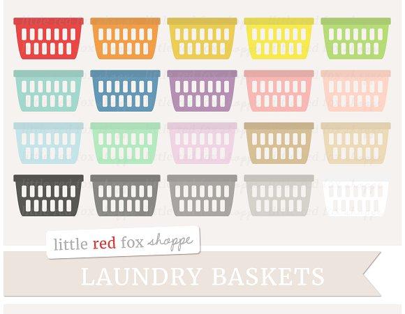Basket clipart laundry basket. Illustrations creative market