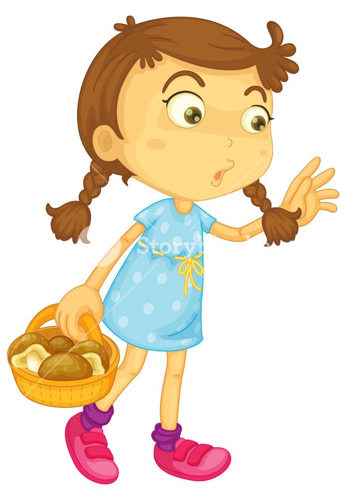 Basket clipart mushroom. Illustration of a girl
