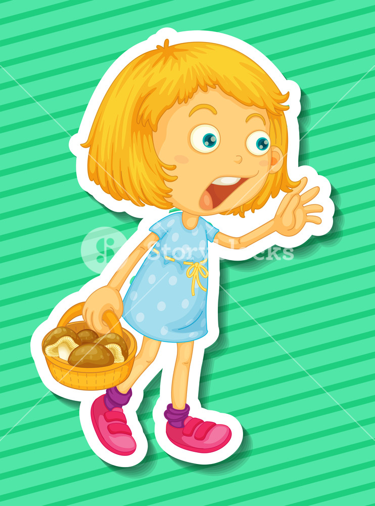 Basket clipart mushroom. Blond girl with of
