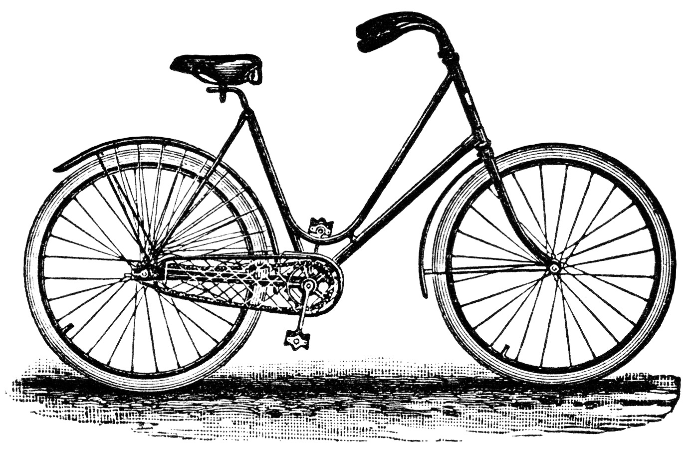 Bicycle with basket clip. Biking clipart classic