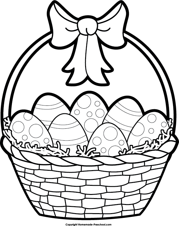 Basket black and happy. White clipart easter egg