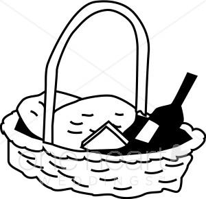 Basket clipart picnic basket. Black and white wedding