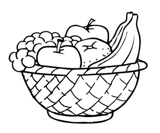 New fruit platter coloring. Basket clipart simple