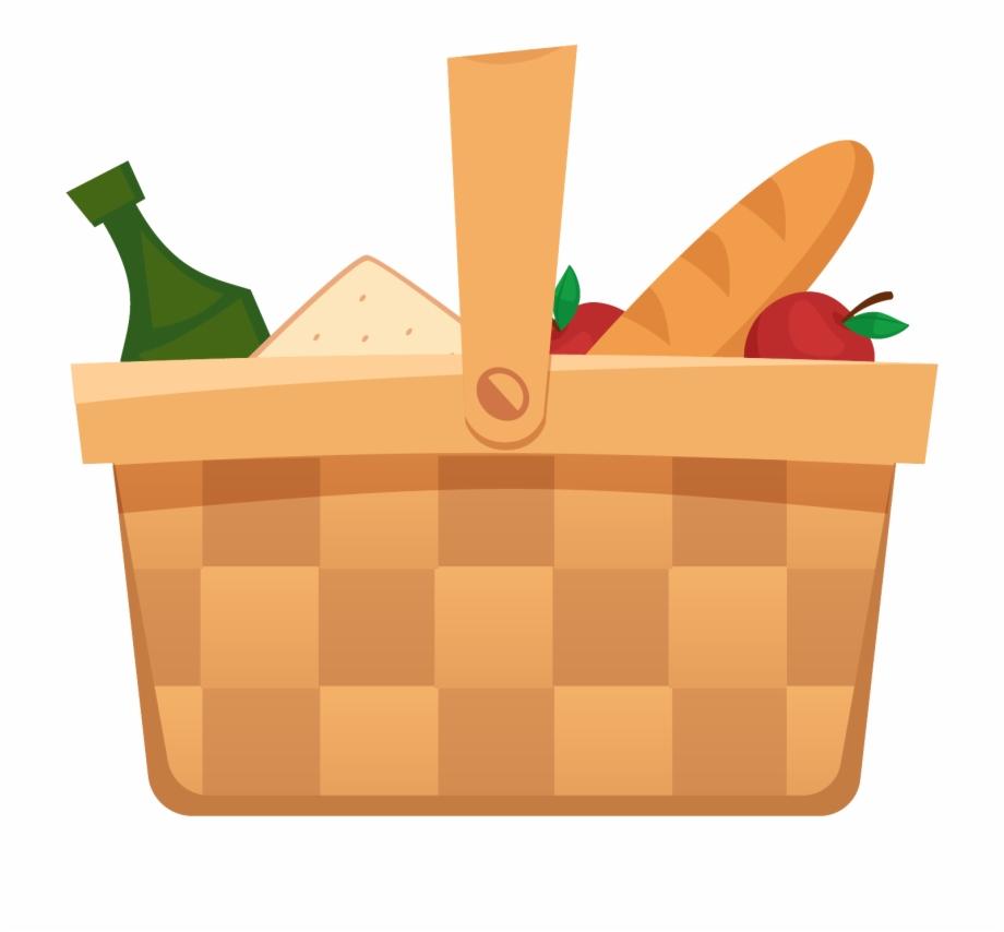 Dibujos animados picnic canasta. Basket clipart simple