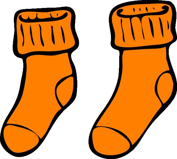 Orange clip art at. Clothing clipart sock