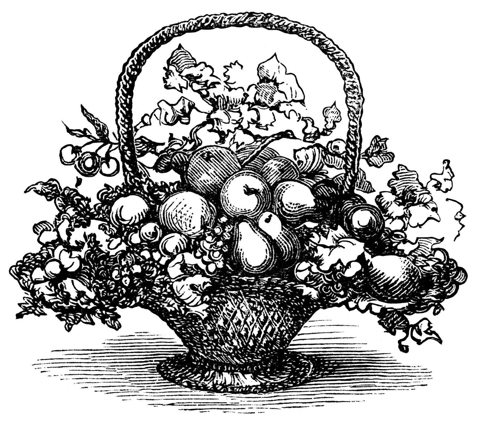 Brunch clipart victorian. Basket of fruit clip