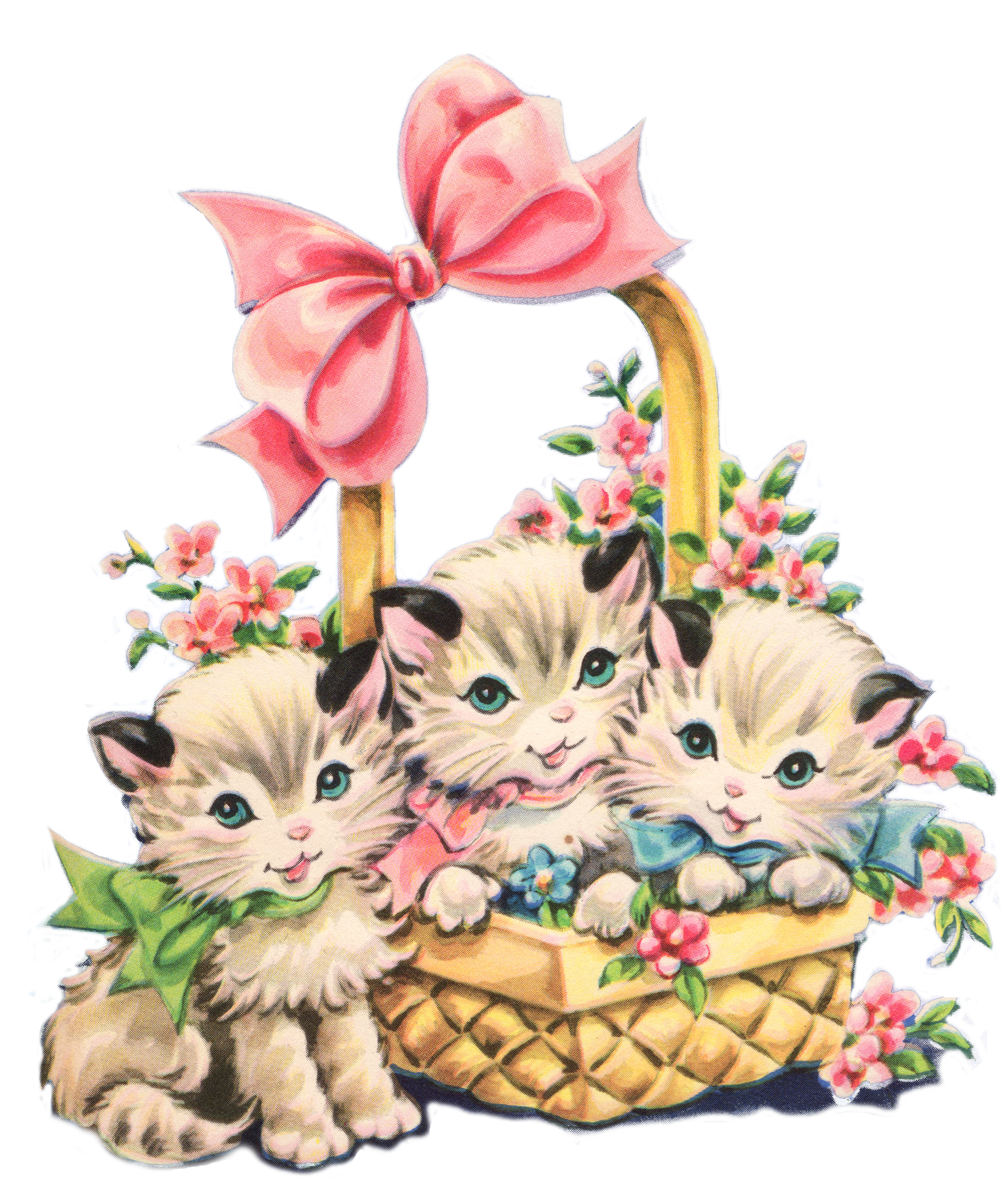 Free vintage kitty clip. Clipart cat spring