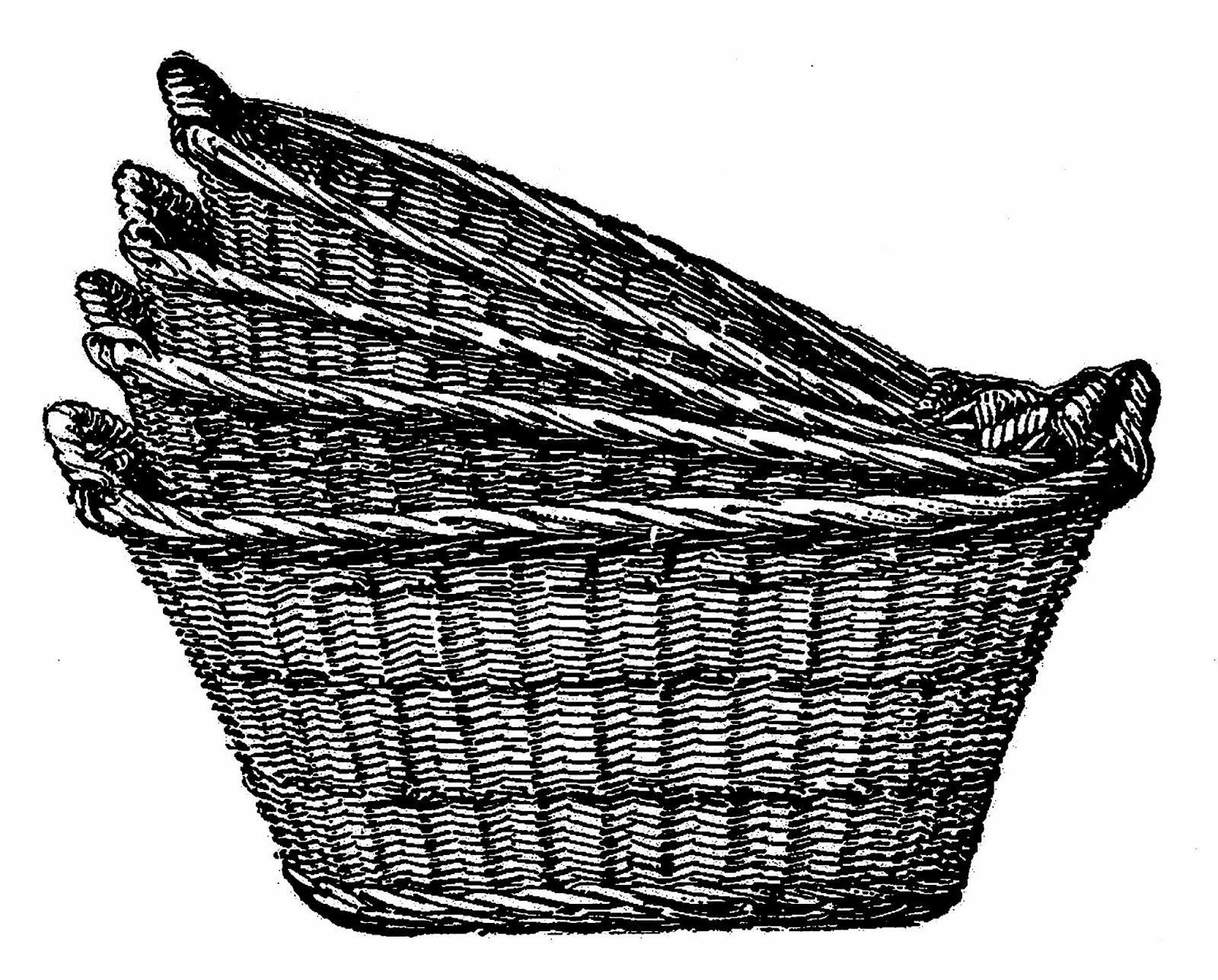 Antique images digital clip. Basket clipart vintage