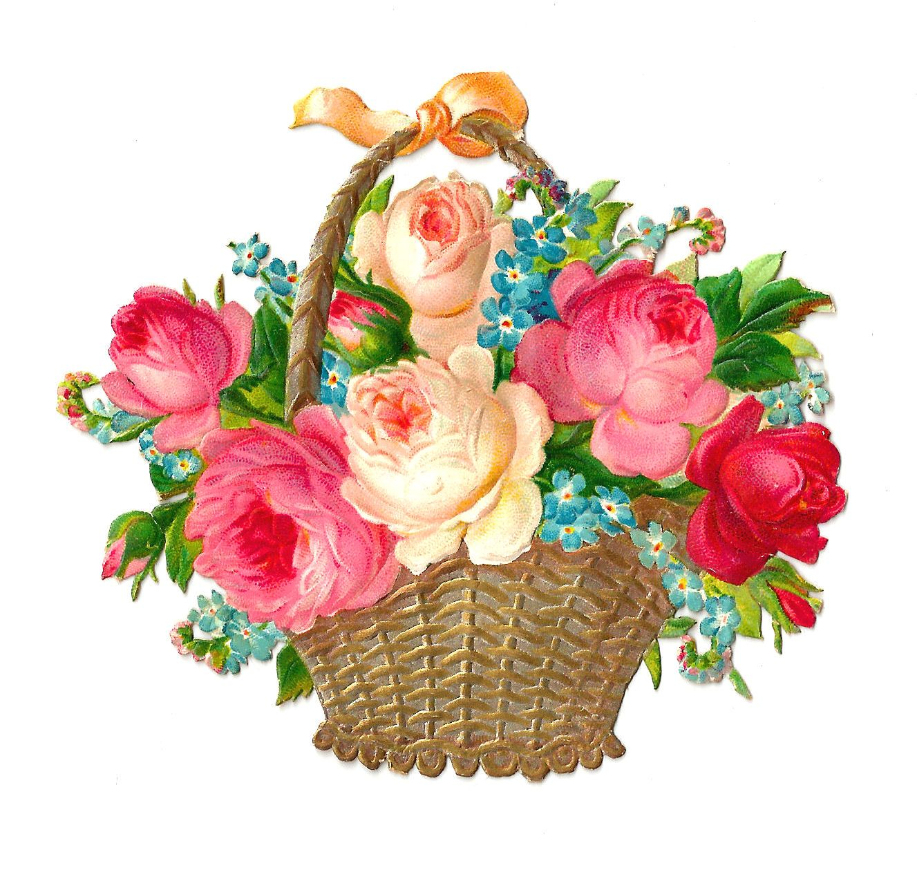 Antique images free flower. Basket clipart vintage
