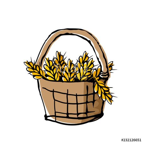Ears in wicker doodle. Wheat clipart basket