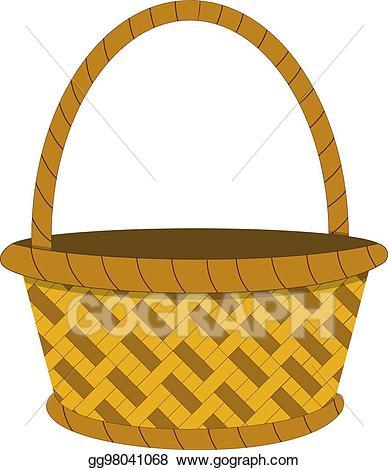 Basket clipart wicker basket. Vector illustration icon eps