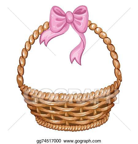 Vector art illustration of. Basket clipart wicker basket