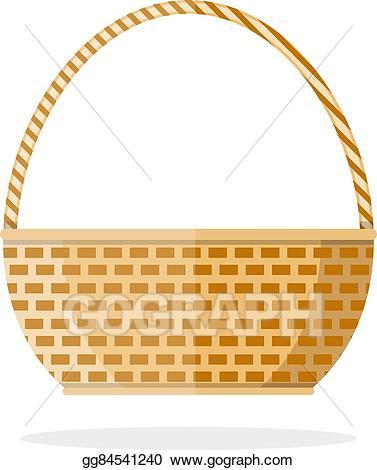 Basket clipart woven basket. Vector stock empty illustration