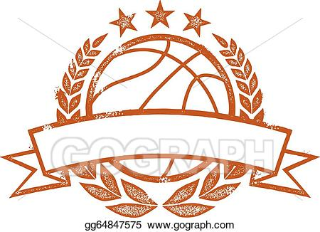 Basketball clipart banner. Vector stock laurel wreath