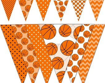 Baby shower printable party. Basketball clipart banner