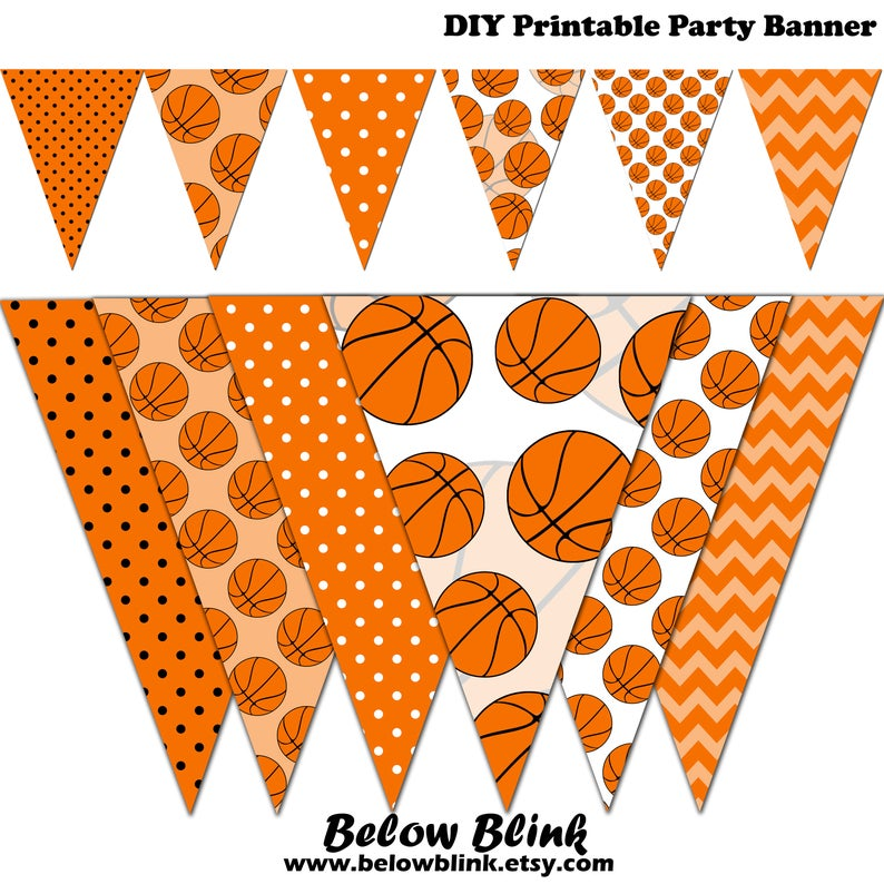 Basketball clipart banner. Baby shower printable party