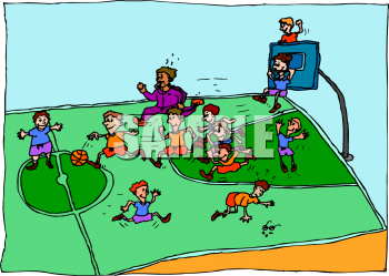 Picture of kids playing. Basketball clipart basketball game
