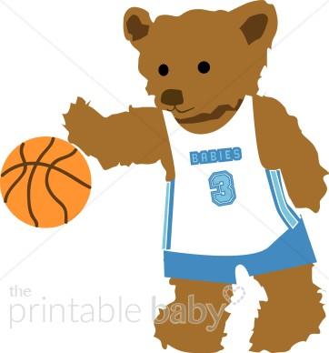 Basketball clipart basketball player. Teddy bear sports baby