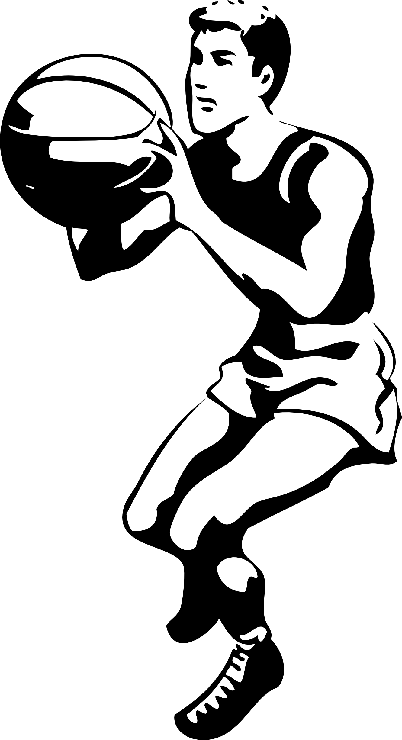 Basketball player black and. Net clipart basket ball