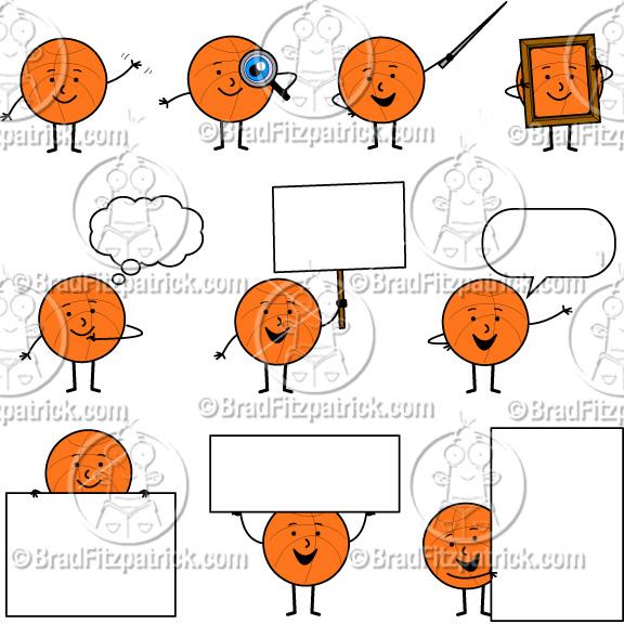 Cartoon clip art character. Basketball clipart cute