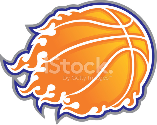 Basketball clipart flame. With flames stock vector