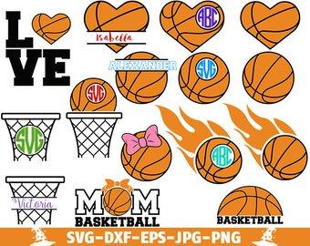 Basketball clipart monogram. Svg files cut love