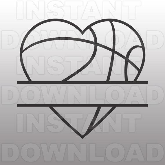 Heart svg file cricut. Basketball clipart monogram