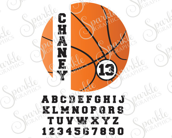Cut file svg personalized. Basketball clipart monogram