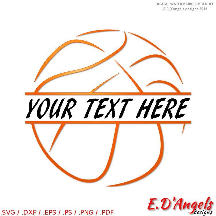 Basketball clipart monogram. Svg split files for