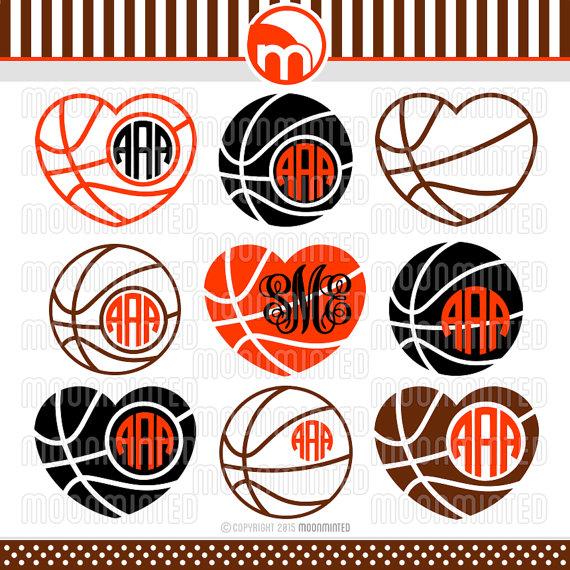 Svg cut files frames. Basketball clipart monogram