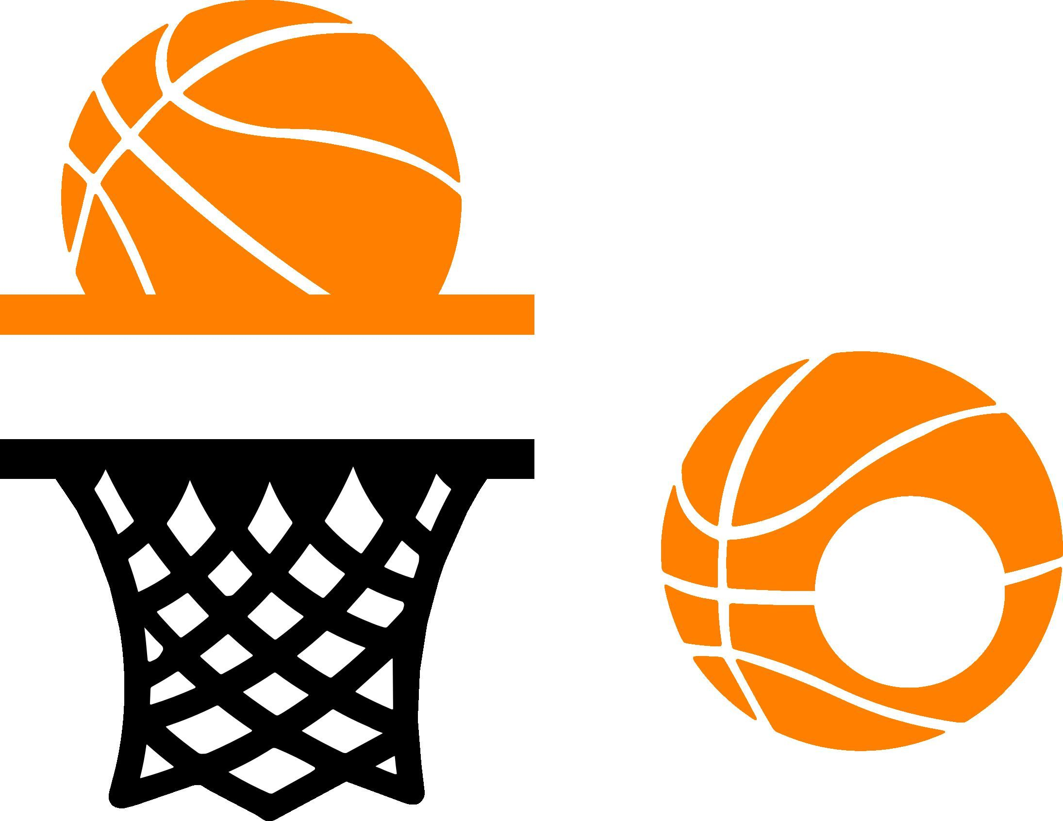 Sports monograms cutting collection. Basketball clipart monogram