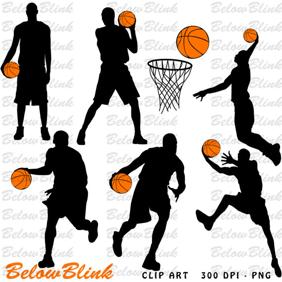 Players silhouettes clip art. Basketball clipart printable