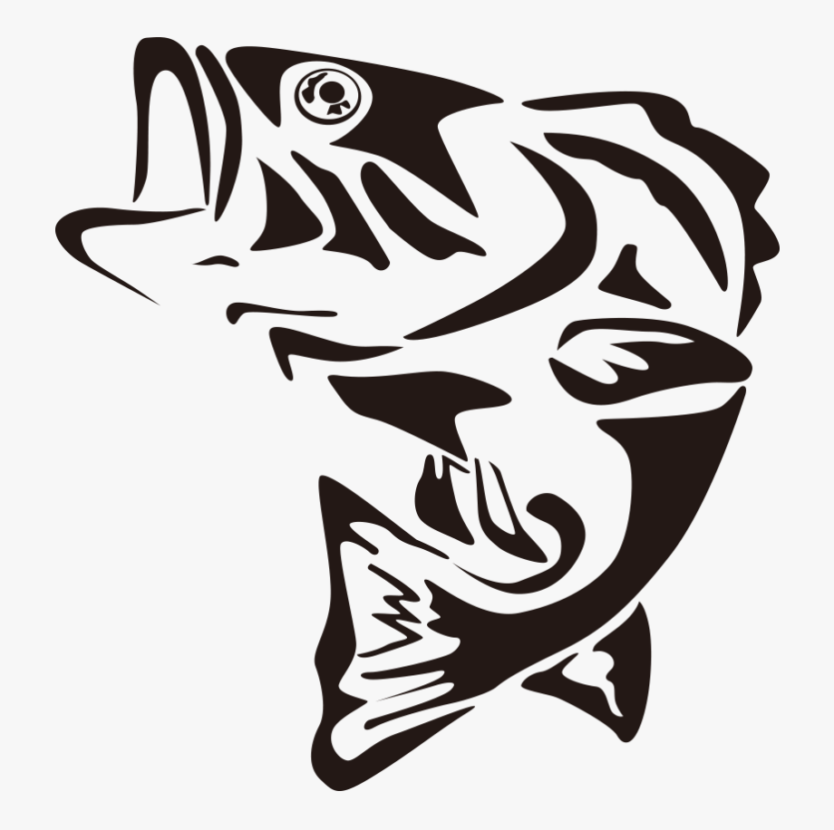 Bass clipart. Fish black and white
