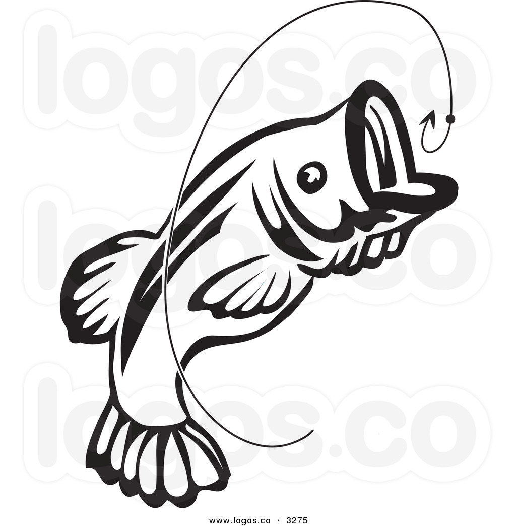 Fish hook . Bass clipart animated