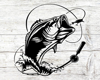 Svg etsy fishing hook. Bass clipart bass fish