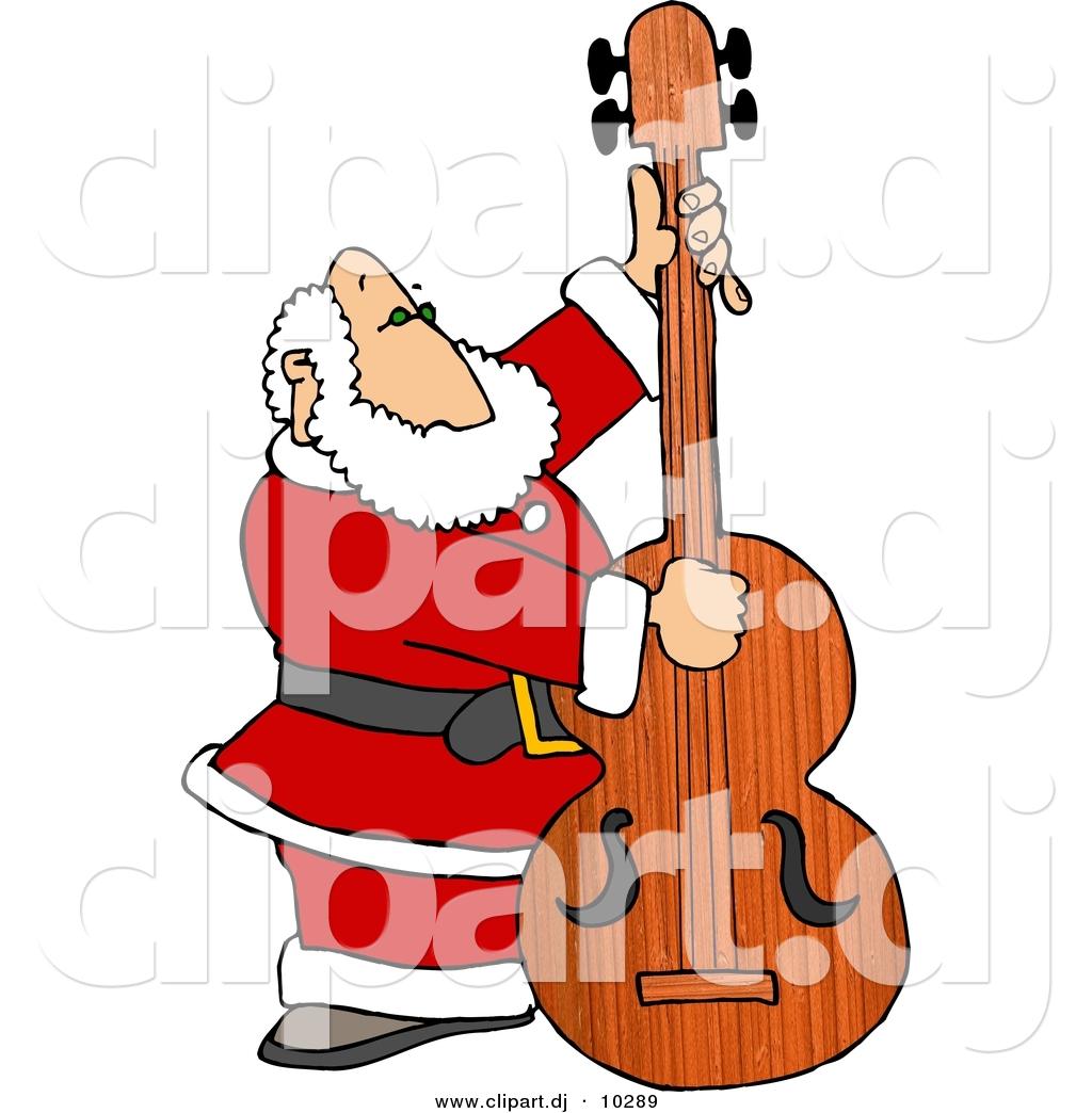 Bass clipart cartoon. Of a santa claus