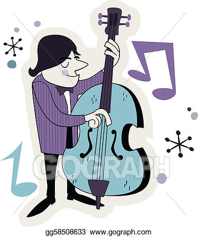 Vector retro player illustration. Bass clipart cartoon