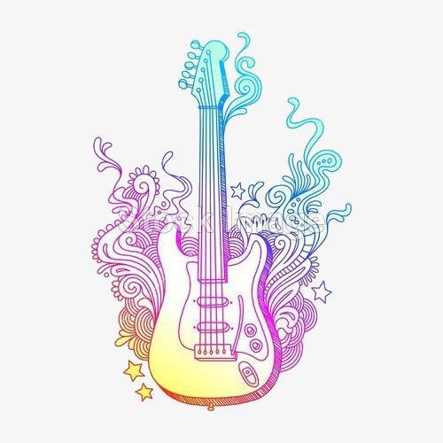 Beautiful color png image. Clipart guitar colorful guitar