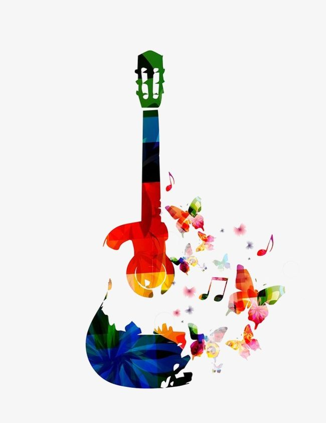 Png butterfly . Clipart guitar colorful guitar