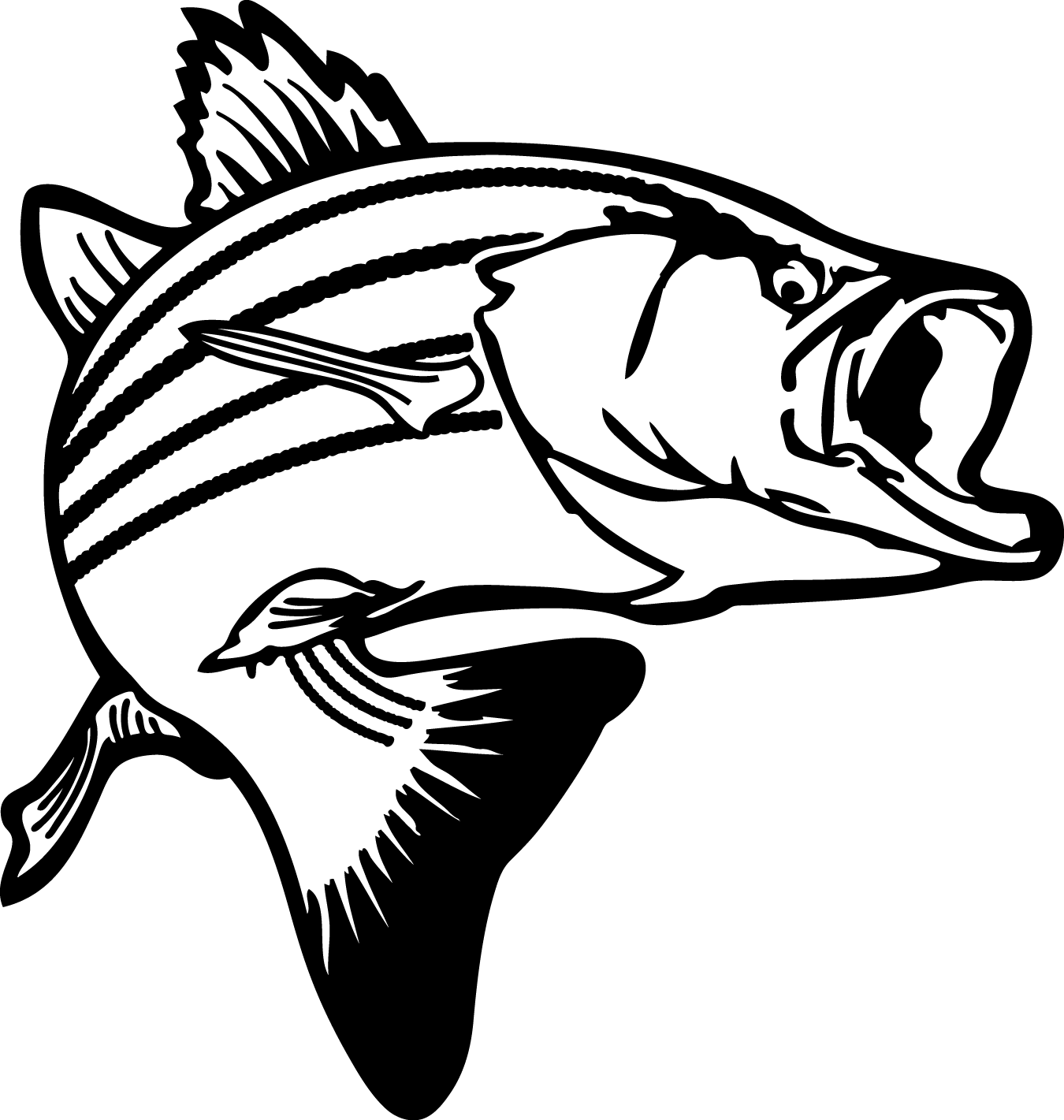 Bass fish coloring pages. Fishing clipart dog