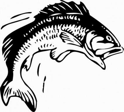 Fish clipartfish black and. Bass clipart cute