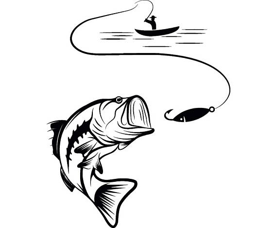 Hook fishing pencil and. Bass clipart cute