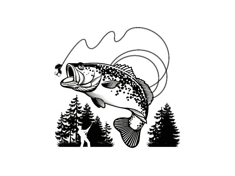 Logo angling fish hook. Bass clipart fishing competition