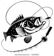 Image result for black. Bass clipart fishing rod