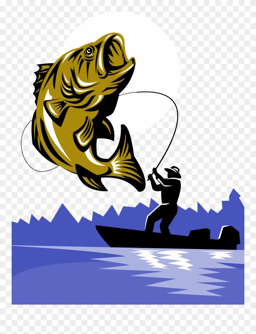 Png black largemouth fish. Bass clipart fishing rod