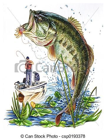 Bass clipart fishing rod. Stock illustration royalty free