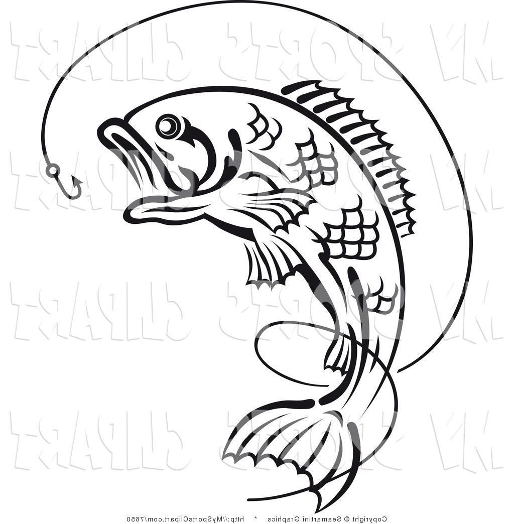 Bass clipart fishing rod. Drawing at getdrawings com